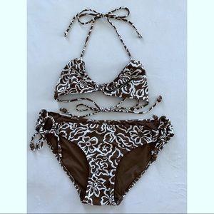 American Eagle Triangle Bikini Brown White Print M
